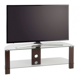 TTAP 1200mm Clear Glass & Walnut TV Stand - 1