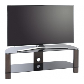 TTAP 1200mm Black Glass & Walnut TV Stand - 1