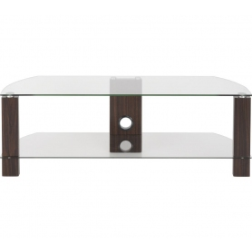TTAP 1200mm Clear Glass & Walnut TV Stand - 2