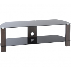 TTAP 1200mm Black Glass & Walnut TV Stand - 2